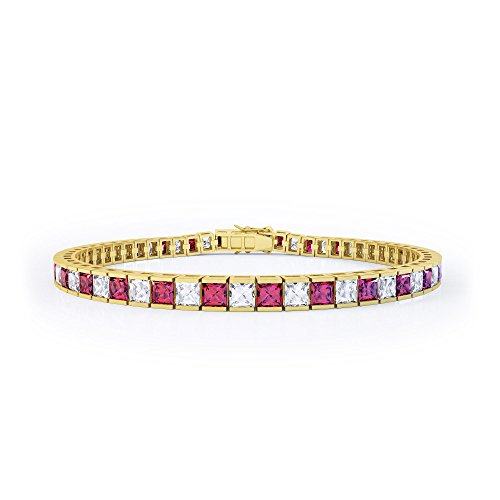 Princess Ruby and Diamond Silver Tennis Bracelet (GOLD)