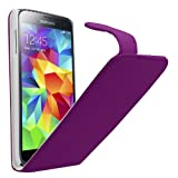 Samrick Specially Designed Leather Flip Case, Screen Protector, Microfiber Cloth, Purple High Capacitive Stylus Pen for Samsung Galaxy S5 - Purple
