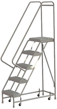 Tri-Arc WLAR105165 5-Step All-Welded Aluminum Rolling Industrial & Warehouse Ladder with Handrail, Grip Strut Tread, 16-Inch Wide Steps