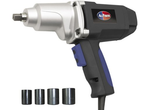 All Power America APT2007 7.5 Amp 1/2-inch Corded Impact Wrench With 4 Impact Sockets And Case