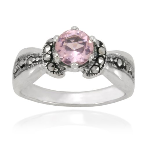 Sterling Silver Marcasite and Faceted Pink Glass Band Ring, Size 9