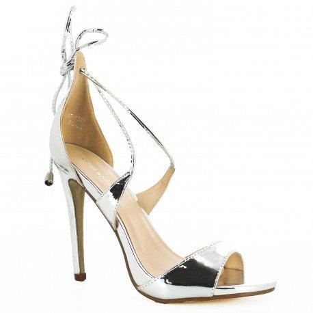 Ideal-Vernice Shoes Scarpe con laccio e punta Virna aperta, Argento (argento), 39