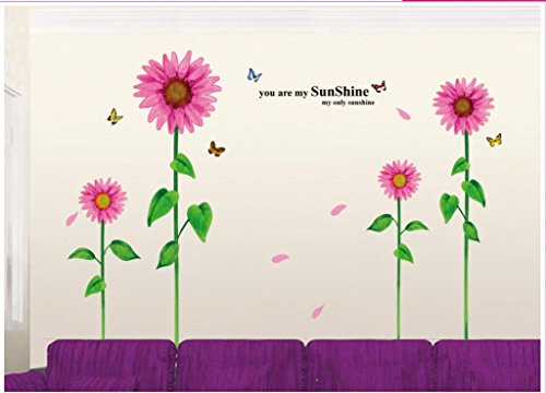 Apexshell (Tm) You Are My Sunshine Quote Pink Sunflowers Removable High Quality Decorate Wall Decal Sticker Decor For Kids, Home, Nursery Room, For Children'S Bedroom front-205071