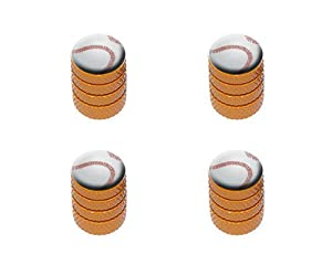 Baseball Sporting Goods Sportsball Tire Rim Wheel Aluminum Valve Stem Caps – Orange Color