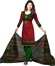 SHOP INTEGRITY RED AND GREEN COTTON DRESS MATERIAL