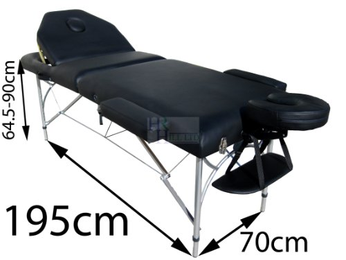 MASSAGE IMPERIAL PROFESSIONAL LIGHTWEIGHT BLACK CAVERSHAM ALUMINIUM PORTABLE MASSAGE TABLE COUCH 7cm/3