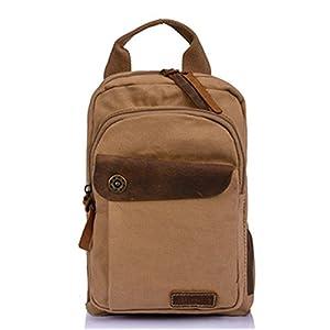 Aolevia Fashion Canvas Bag Unisex Mini Rucksack Backpack Schultasche Daypack 22*30*17cm Ideal für Travel (Khaki)