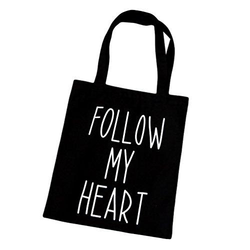 Baymate Donne Tempo Libero Borse Riutilizzabili Moda Shopping Bag Nero