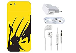Spygen Apple Iphone 5/5S Case Combo of Premium Quality Designer Printed 3D Lightweight Slim Matte Finish Hard Case Back Cover + Charger Adapter + High Speed Data Cable + Premium Quality Handfree Combo of Premium Quality Designer Printed 3D Lightweight Slim Matte Finish Hard Case Back Cover + Charger Adapter + High Speed Data Cable + Premium Quality Handfree