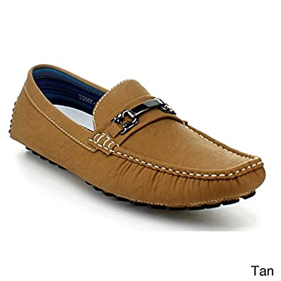 J'S AWAKE TONY-03 Men's slip on loafers casual moccasins, Color:TAN, Size:6.5
