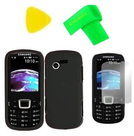 Phone Cover Case Cell Phone Accessory + Lcd Screen Protector + Extreme Band + Yellow Pry Tool For Samsung S425G Sgh-S425G (Black)