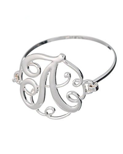Monogram Designer Silver-tone Filigree Wire Bracelet by Jewelry Nexus