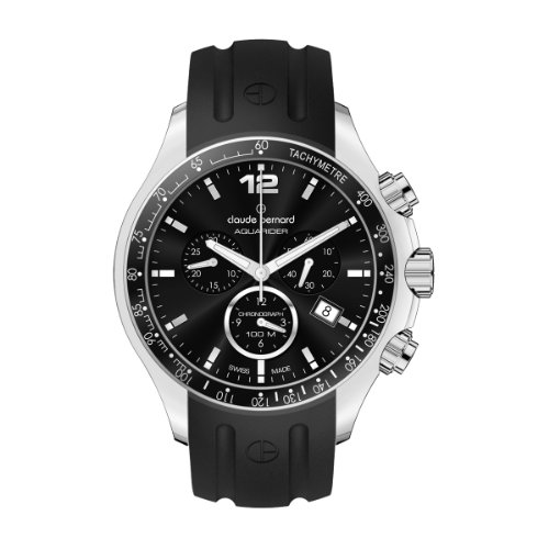 Claude Bernard Men's 10203 3 NIN Aquarider Black Chronograph Tachymeter Rubber Watch