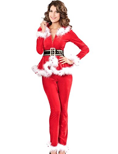 Crazy Miss Sexy Party Fancy Velvet Pants Xmas Santa Claus Costume Outfit
