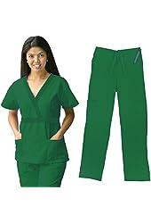Material Girl Womens Scrub Sets Top and Pants Nurse Uniform 7872