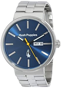 Hush Puppies Orbz Men's Automatic Watch with Blue Dial Analogue Display and Silver Stainless Steel Bracelet HP.3792M.1503