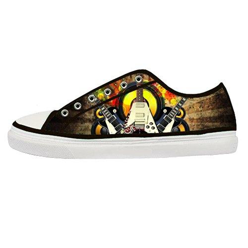 Gckg(Tm) Women'S Electric Bass Guitar Custom Canvas Shoes Fashion Sneaker Zipper Lace-Up Low Top-6M Us