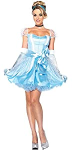 Leg Avenue 3PC.Classic Cinderella,satin dress,choker,and headband,Large,Belle Tulle