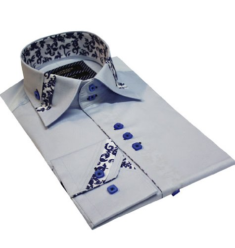 New Mens Formal Casual Dress Shirts Light Blue Colour Slim Fit Sizes S-2XL