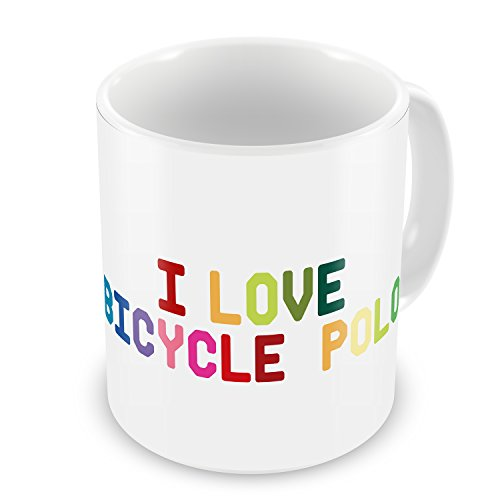 Coffee Mug I Love Bicycle Polo, Colorful - Neonblond