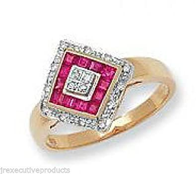 9ct Gold Real Ruby Squares & Diamond Ring (available in sizes J - T )