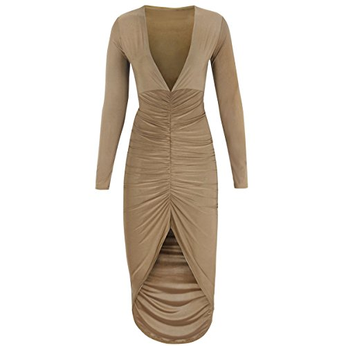 Fashion Thirsty Women's Long Sleeved Ruched Bodycon Dress 8 Nude