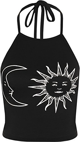 wearall-womens-sun-moon-print-halter-neck-sleeveless-tied-crop-vest-t-shirt-top-black-white-8-10