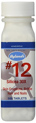 Hyland's Cell Salts #12 Silicea 30X Tablets, Natural Homeopathic Acne, Pimples, Blackheads and Hair and Nails Relief, 500 Count