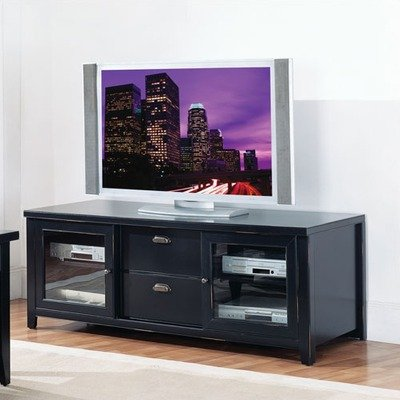 Cheap Kathy Ireland Home by Martin Furniture Tribeca Loft 65″ Black Wood TV Stand (IMTL357)