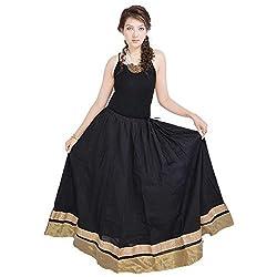 Prateek Retail Rajasthani Ethnic Black Cotton Long Skirt