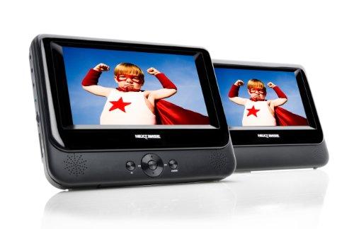 NB48AM Tragbarer DVD Player 17,8 cm (7 Zoll) mit 2 Bildschirmen inkl. Auto-Halterungen und Zubehör