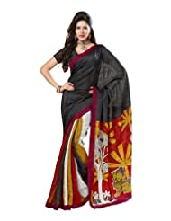 Indian Designer Wear Chappa Silk Black Printed Saree
