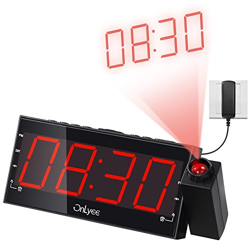 onlyee 1 8 led dimmable projection clock radio with am fm usb charging dual alarm battery. Black Bedroom Furniture Sets. Home Design Ideas