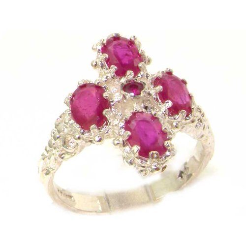 Victorian Design Solid English Sterling Silver Natural Ruby Ring - Size 12 - Finger Sizes 5 to 12 Available - Suitable as an Anniversary ring, Engagement ring, Eternity ring, or Promise ring