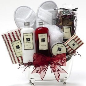 Art of Appreciation Gift Baskets White Mulberry Bathtub Spa Bath and Body Gift Set