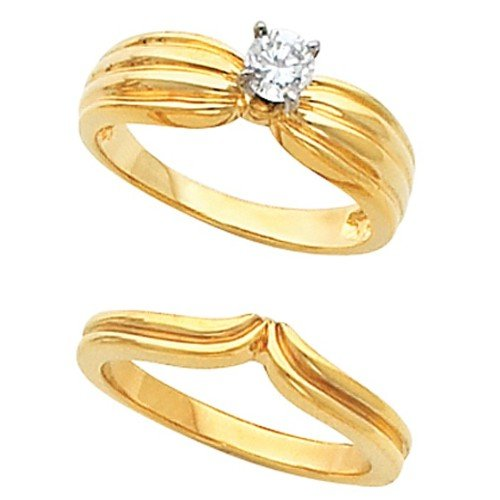 Ring Engagement Low Cost 18K Yellow Gold Diamond Solitaire Wedding Set 0 2