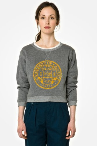 L!VE Long Sleeve Varsity Crewneck Cropped Sweatshirt