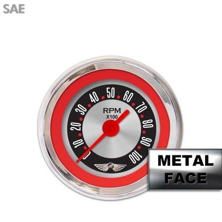 Aurora Instruments GAR25ZMAIABCE American Retro Rodder Red Tachometer Gauge with Emblem