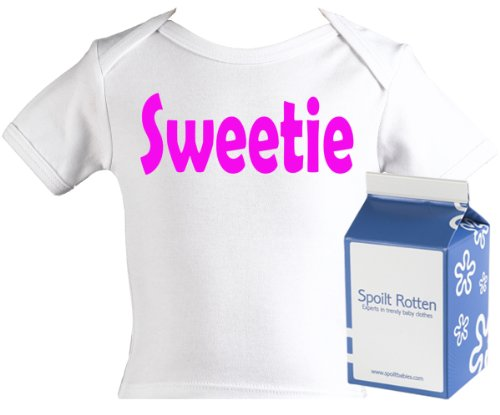 Spoilt Rotten - Sweetie Baby & Toddler Retro T-Shirt 100% Organic Sizes 0-6 months WHITE/BLACK + in funky Milk Carton