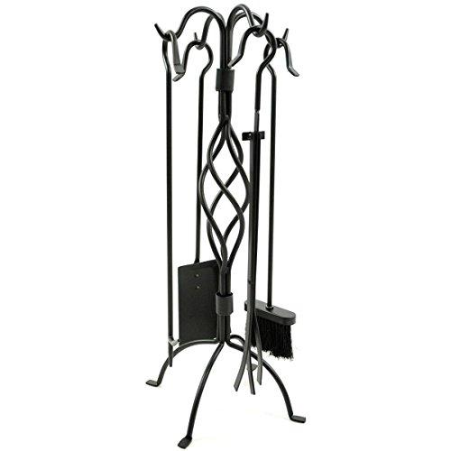 WoodEze FT3501A 5 Piece Black Spiral Design Fireplace Tool Set (Black Fireplace Set compare prices)
