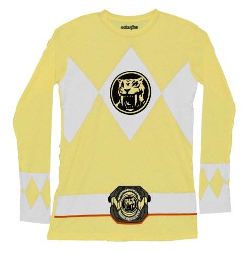 Mighty Morphin Power Rangers Yellow Long Sleeve Costume Adult T-Shirt Tee