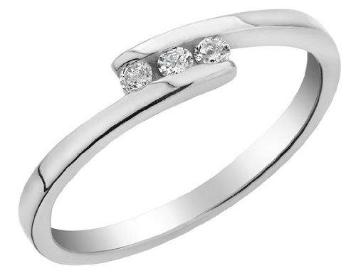 Three Stone Diamond Promise 1/10 Carat (ctw) Ring in 10K White Gold