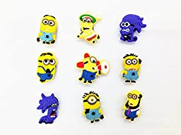 9 Different Despicable Me Minion Shoe Charms for Jibbitz Croc Shoes & Wristband Bracelet