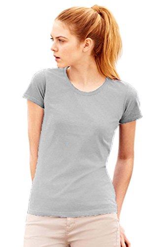 Maglietta Maniche Corte Sagomata Donna Fruit Of The Loom T Shirt Cotone Lady Fit, Colore: Grigio, Taglia: L