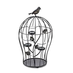 Koehler Holiday Season Home Decor Metal Branch Triple Birdcage Centerpiece Tabletop Candleholder