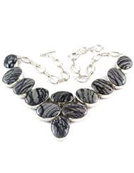 925 Silver Black Miscellaneous Stone Necklace For Women US317