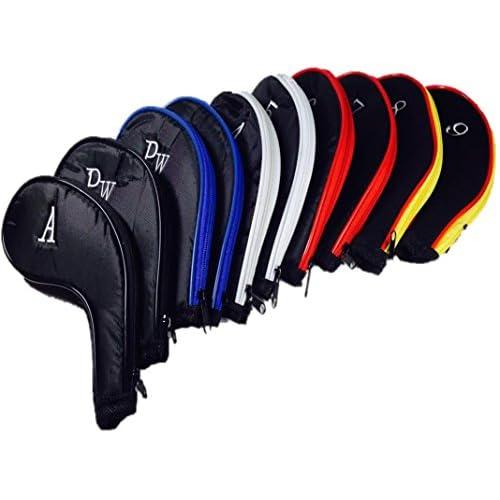 【全5色】 番手 刺繍入り ゴルフ アイアン カバー ファスナー タイプ 10個 セット ブラック