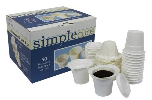 Disposable Cups for Use in Keurig® Brewers - Simple Cups - 50 Cups, Lids, Filters with Easy Close Stand - Use Your Own Coffee in K-cups
