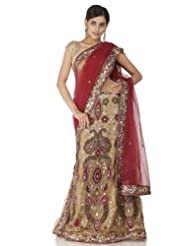 Chhabra555 Red Net One Minute Saree - B00J4ROVU0