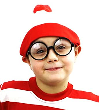 """ILOVEFANCYDRESS® CHILDS """"FIND ME"""" HAT & GLASSES FANCY DRESS ACCESSORY SET BOYS GIRLS BOOK WEEK OUTFIT RED WHITE BOBBLE HAT + ROUND GLASSES"""